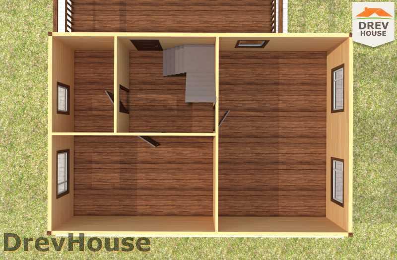 Вид изнутри 1 этажа проекта полутораэтажного дома из бруса ДБ-60