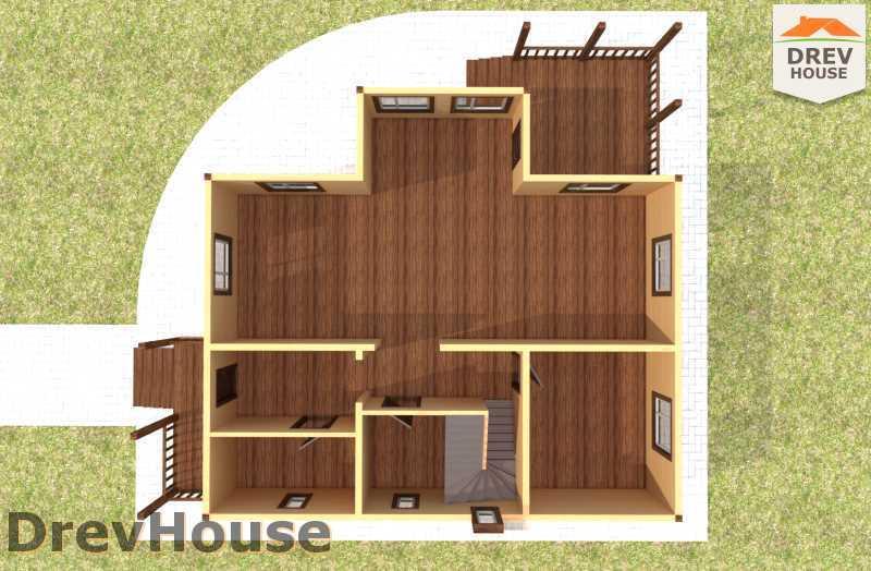 Вид изнутри 1 этажа проекта полутораэтажного дома из бруса ДБ-62