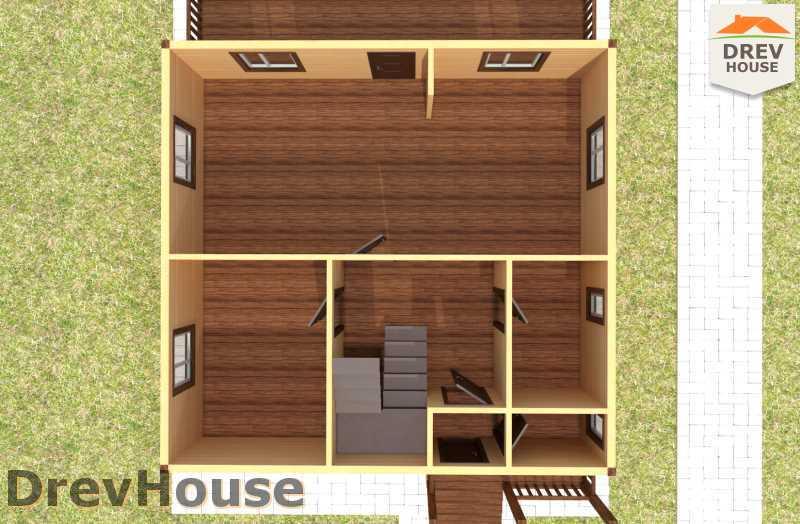 Вид изнутри 1 этажа проекта полутораэтажного дома из бруса ДБ-63