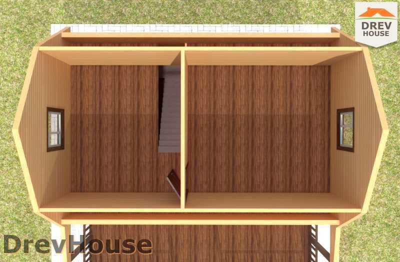 Вид изнутри 2 этажа проекта дома из бруса с мансардой ДБ-61