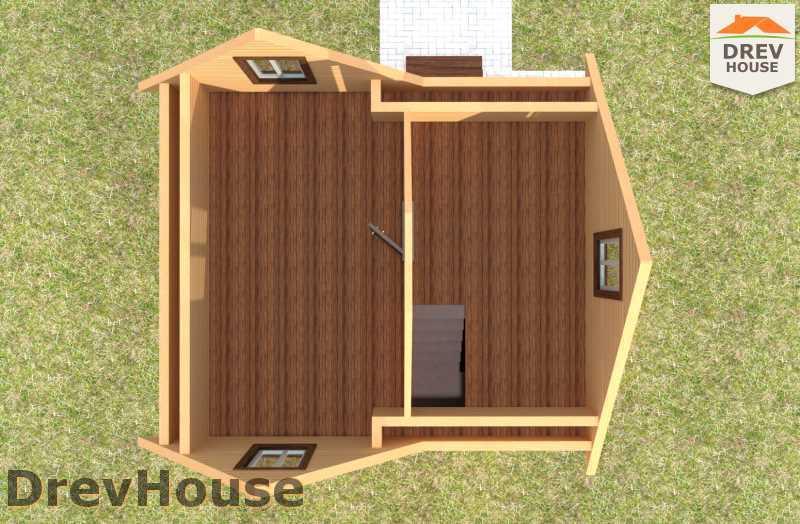 Вид изнутри 2 этажа проекта дома из бруса с мансардой ДБ-66
