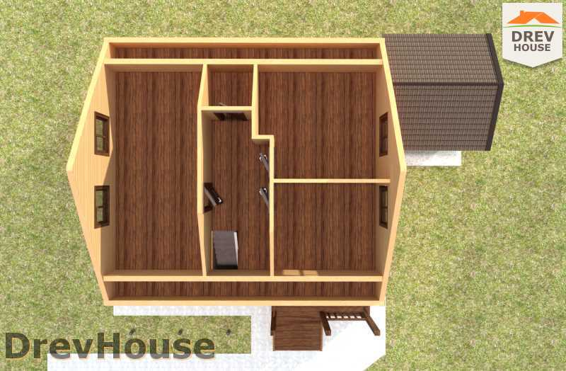 Вид изнутри 2 этажа проекта дома из бруса с мансардой ДБ-72