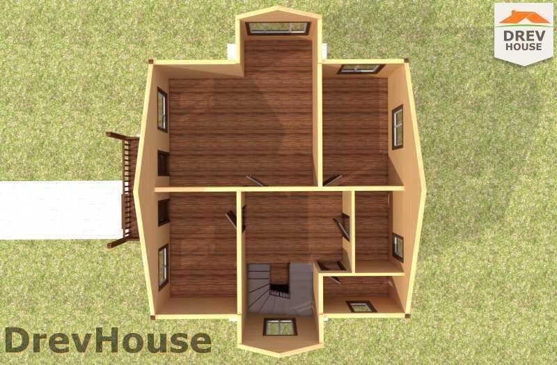 Вид изнутри 2 этажа проекта двухэтажного дома из бруса ДБ-57