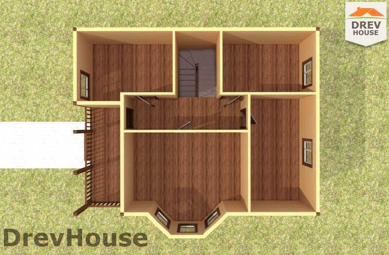 Вид изнутри 2 этажа проекта двухэтажного дома из бруса ДБ-58