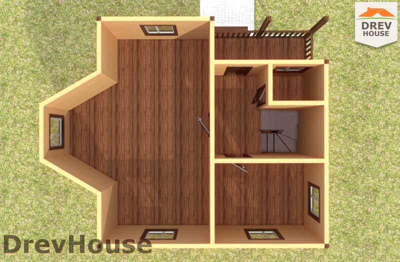 Вид изнутри 2 этажа проекта двухэтажного дома из бруса ДБ-59