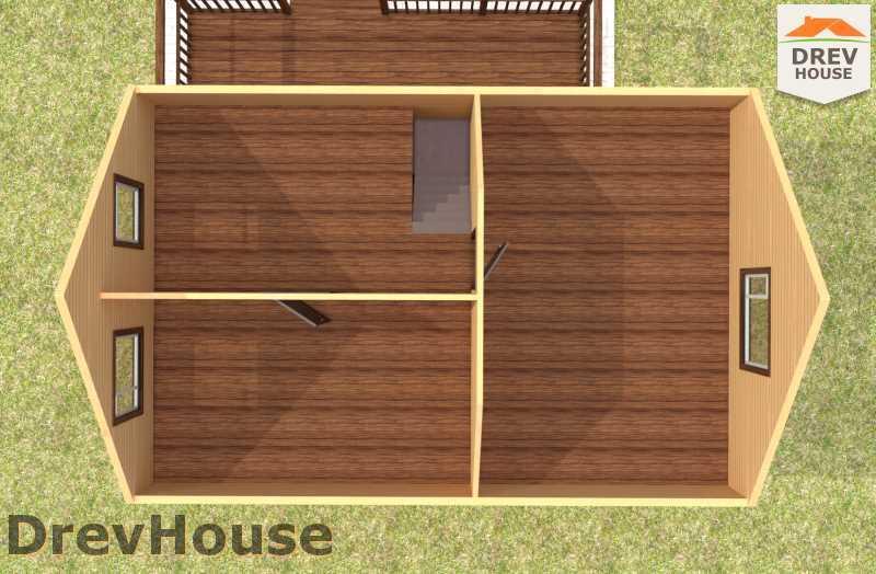 Вид изнутри 2 этажа проекта полутораэтажного дома из бруса ДБ-60
