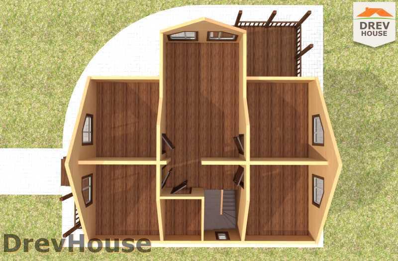 Вид изнутри 2 этажа проекта полутораэтажного дома из бруса ДБ-62