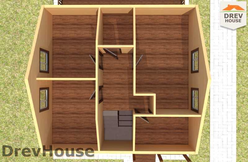 Вид изнутри 2 этажа проекта полутораэтажного дома из бруса ДБ-63
