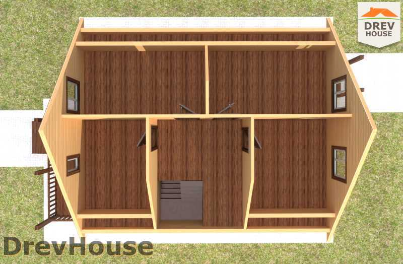 Вид изнутри 2 этажа проекта дома из бруса с мансардой ДБ-65