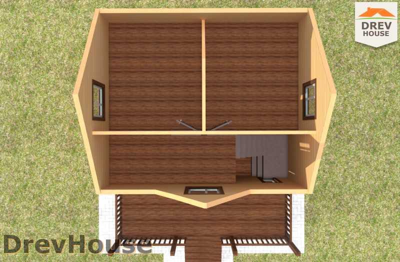 Вид изнутри 2 этажа проекта полутораэтажного дома из бруса ДБ-70