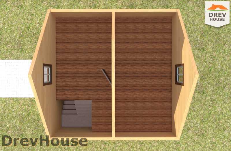 Вид изнутри 2 этажа проекта полутораэтажного дома из бруса ДБ-71