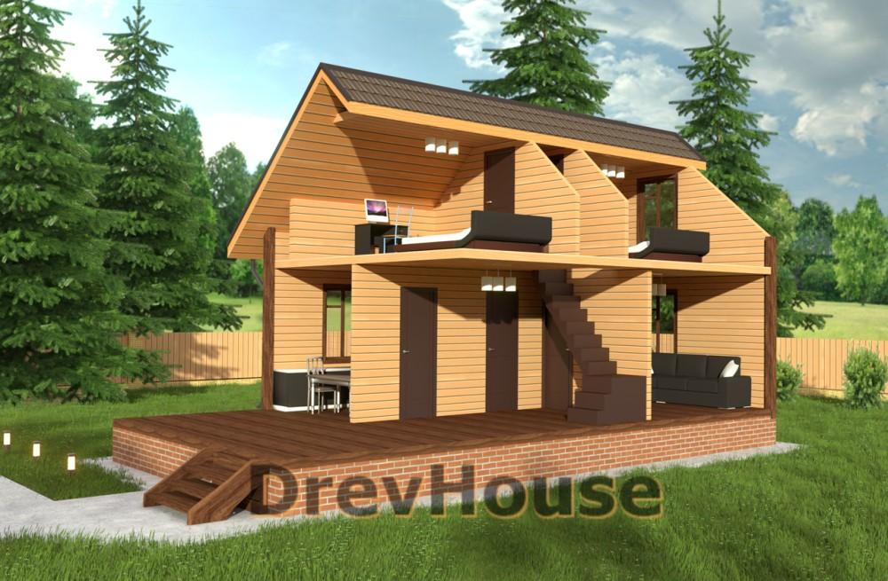 Вид изнутри проекта дома из бруса с мансардой ДБ-4