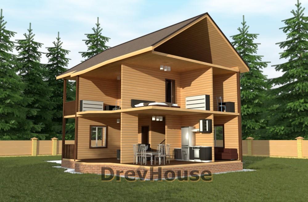 Вид изнутри проекта двухэтажного дома из бруса ДБ-58