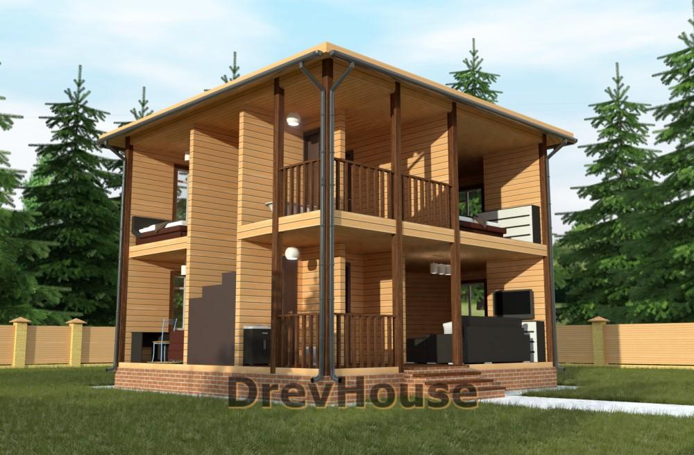 Вид изнутри проекта двухэтажного дома из бруса ДБ-59