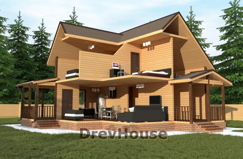 Вид изнутри проекта полутораэтажного дома из бруса ДБ-62