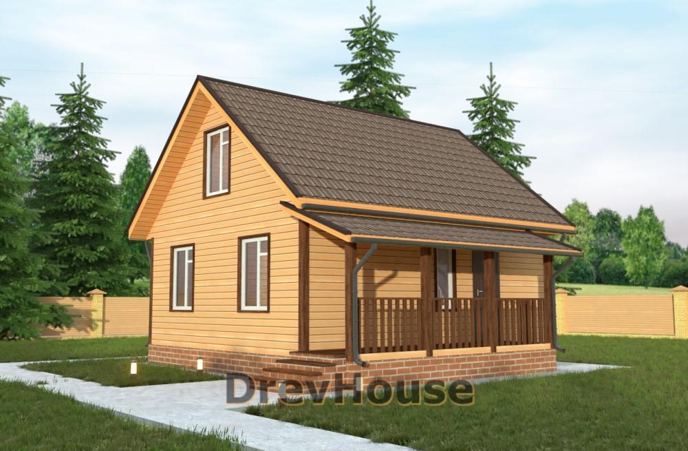 Главное фото проекта дома из бруса с мансардой ДБ-6