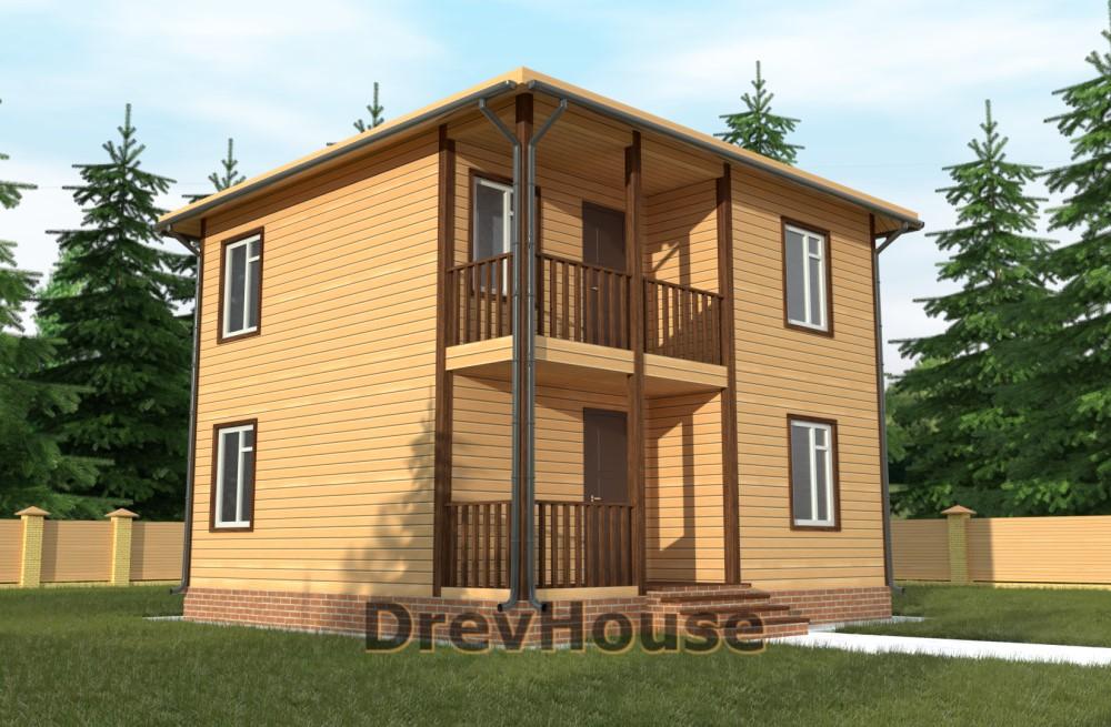 Главное фото проекта двухэтажного дома из бруса ДБ-59