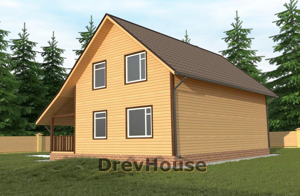 Главное фото проекта полутораэтажного дома из бруса ДБ-60