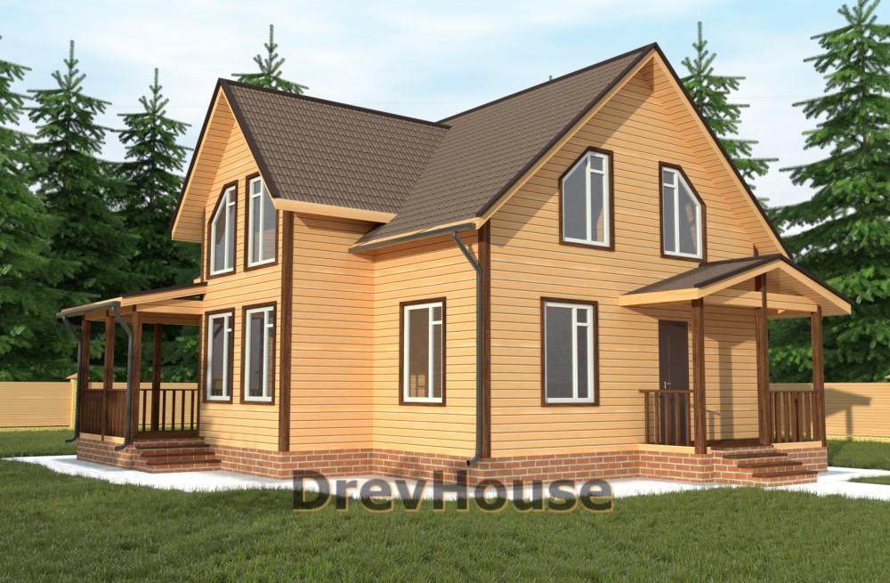 Главное фото проекта полутораэтажного дома из бруса ДБ-62