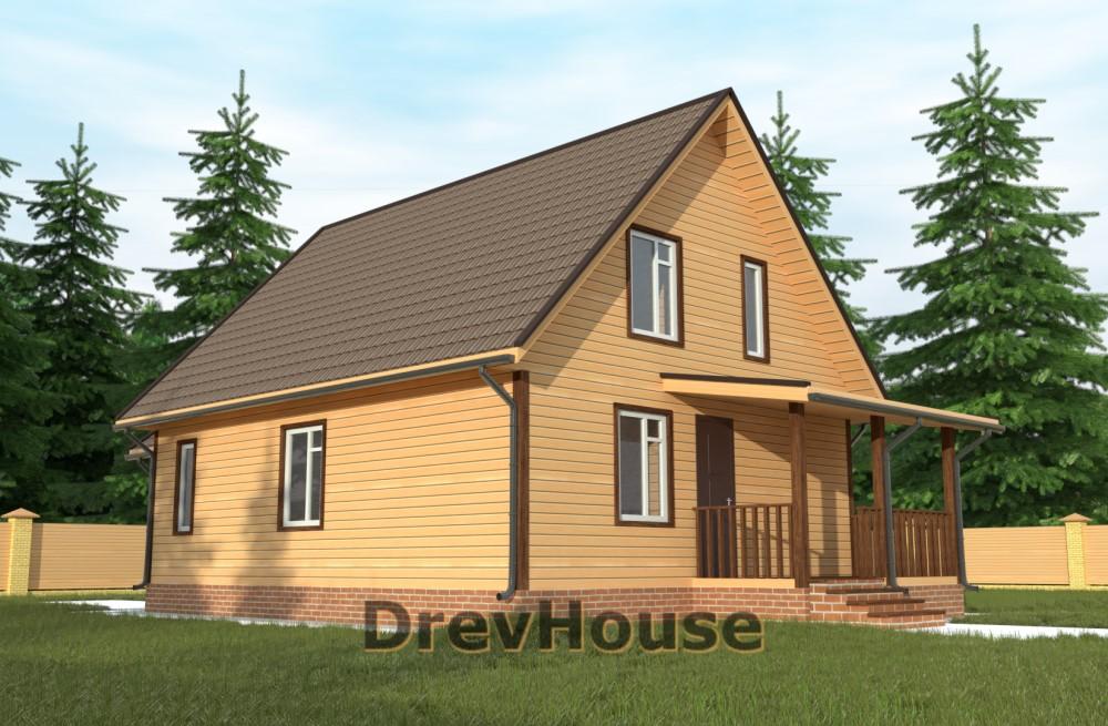 Главное фото проекта дома из бруса с мансардой ДБ-65