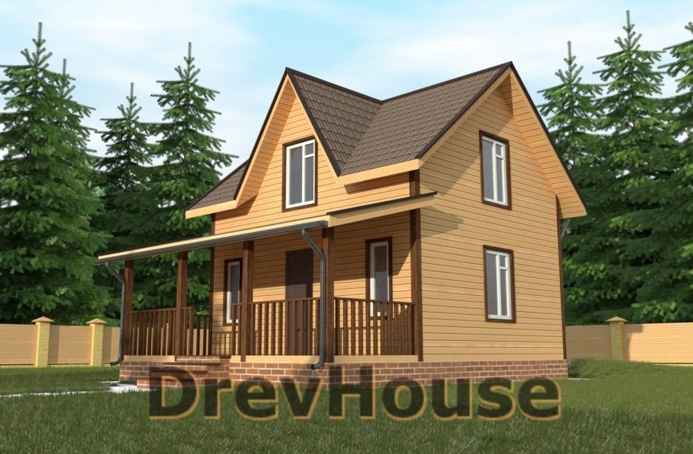 Главное фото проекта полутораэтажного дома из бруса ДБ-70
