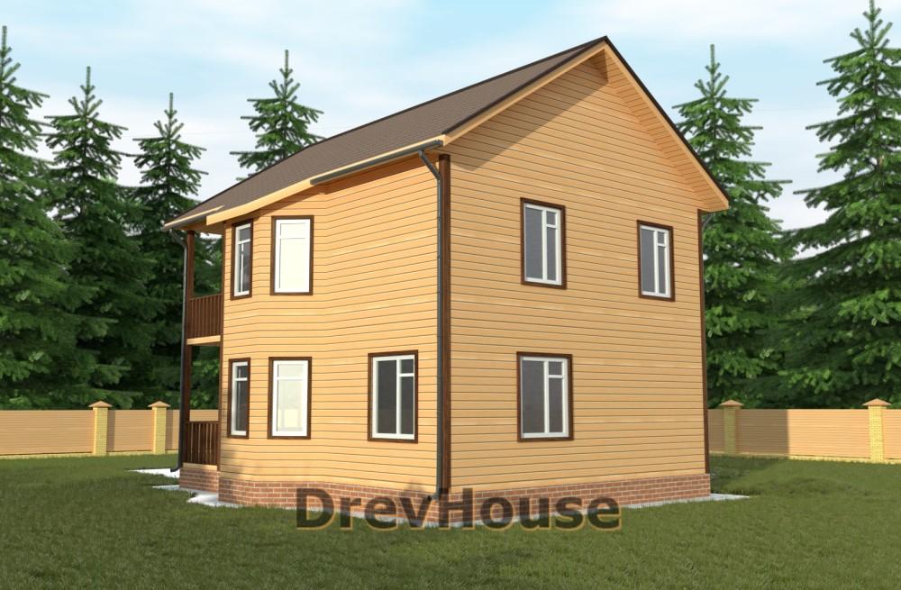 Главное фото проекта двухэтажного дома из бруса ДБ-58