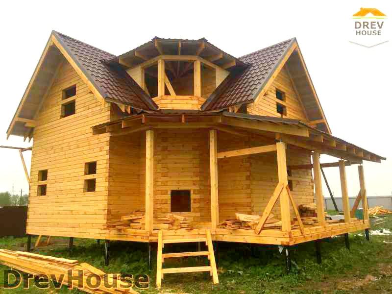 Фоторепортаж строительства дома из бруса по проекту ДБ-55 в д. Румянцево, МО