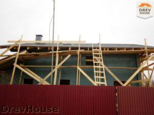 Строительство дома из бруса в деревне Беляево   фаза 13