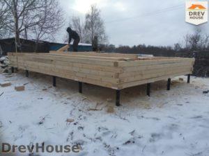 Строительство дома из бруса в деревне Потаповское   фаза 1