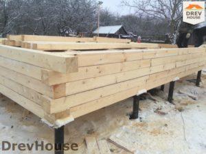 Строительство дома из бруса в деревне Потаповское   фаза 2