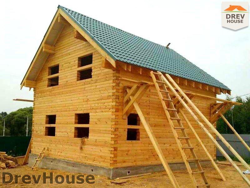 Фоторепортаж строительства дома из бруса в д. Сергеево, Чеховский р-н., МО