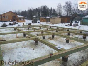Строительство дома из бруса в деревне Володькино   фаза 1