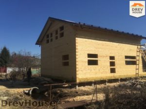 Строительство дома из бруса в деревне Володькино   фаза 12