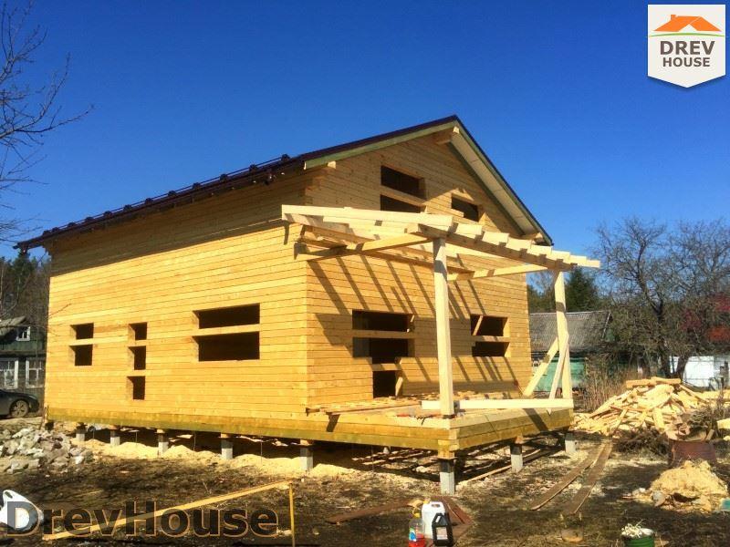 Фоторепортаж строительства дома из бруса в д. Володькино, Пушкинский р-н., МО