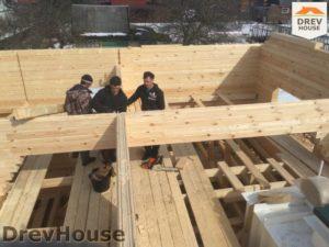 Строительство дома из бруса в деревне Володькино   фаза 3