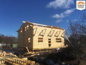 Строительство дома из бруса в деревне Володькино   фаза 9