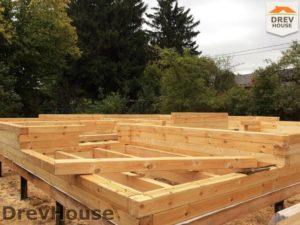 Строительство дома из бруса в поселке Ганусово   фаза 1