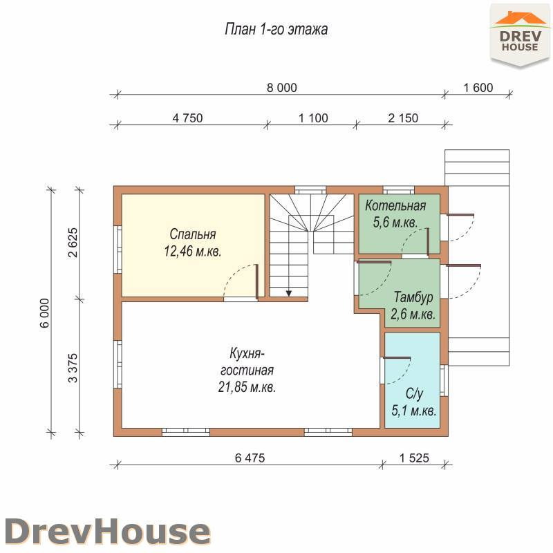 План 1 этажа проекта дома из бруса с мансардой ДБ-73