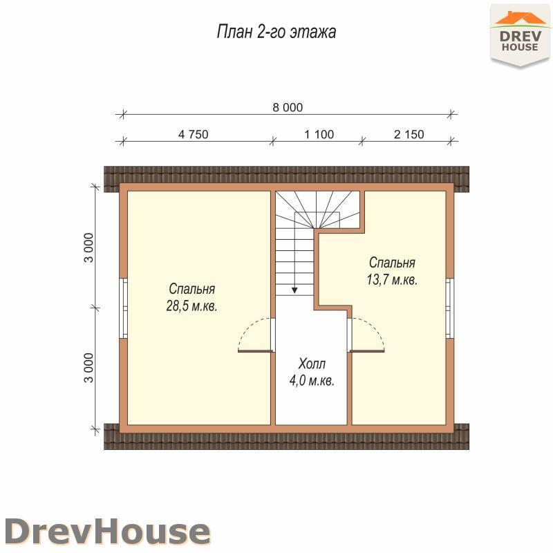 План 2 этажа проекта дома из бруса с мансардой ДБ-73