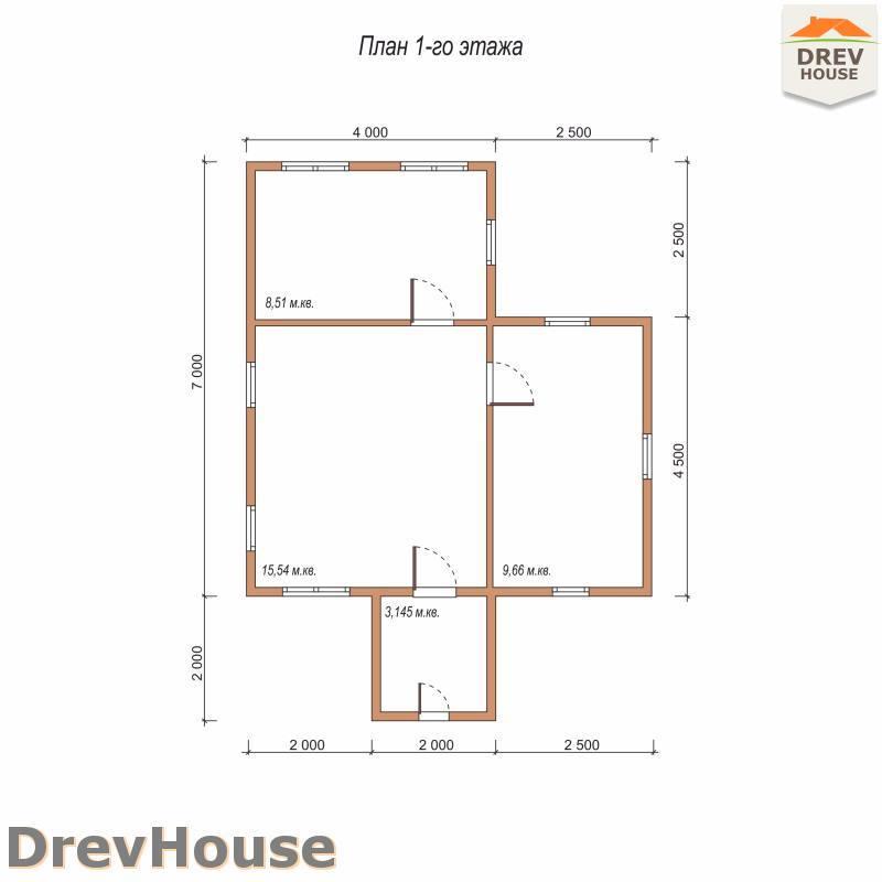 План 1 этажа одноэтажного дома из бруса ДБ-74