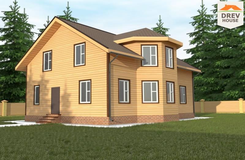 Главное фото проекта полутораэтажного дома из бруса ДБ-75