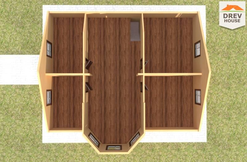Вид изнутри 2 этажа проекта полутораэтажного дома из бруса ДБ-75