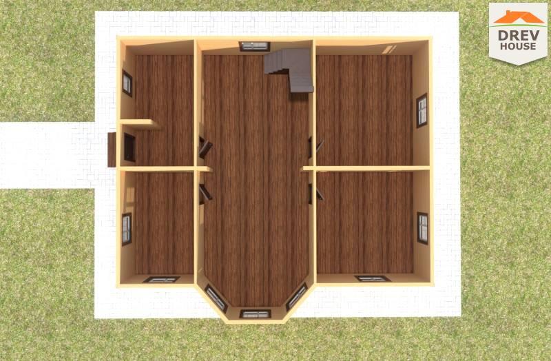 Вид изнутри 1 этажа проекта полутораэтажного дома из бруса ДБ-75