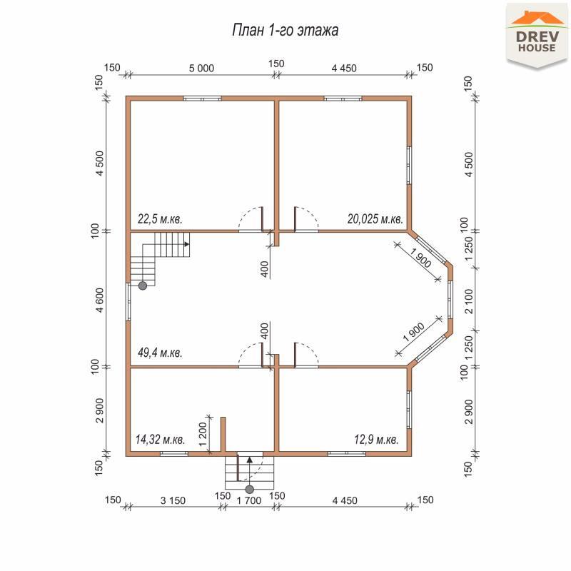 План 1 этажа полутораэтажного дома из бруса ДБ-75
