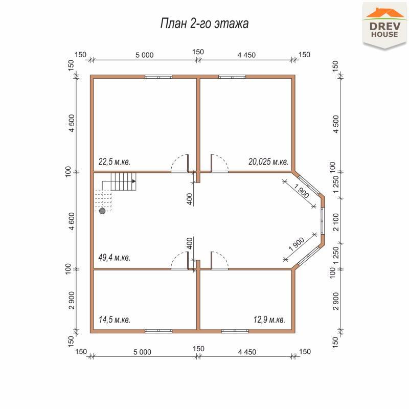 План 2 этажа полутораэтажного дома из бруса ДБ-75