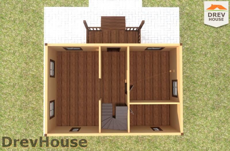 Вид изнутри 1 этажа проекта дома из бруса с мансардой ДБ-76