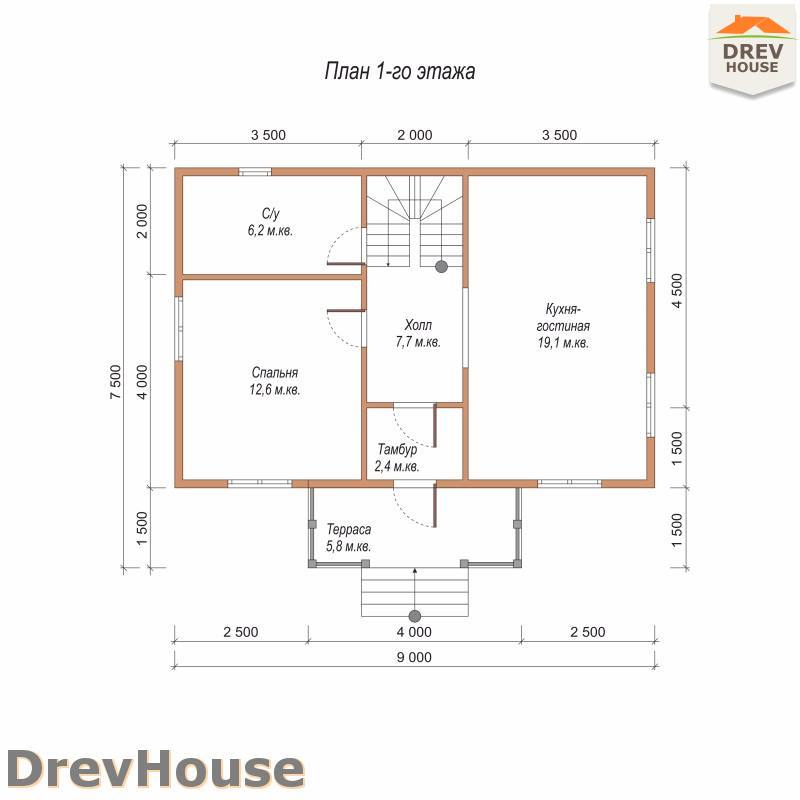 План 1 этажа дома из бруса с мансардой ДБ-76