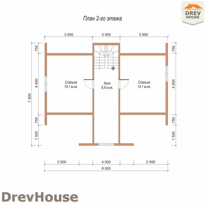 План 2 этажа дома из бруса с мансардой ДБ-76