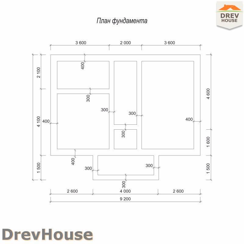 План фундамента дома из бруса с мансардой ДБ-76