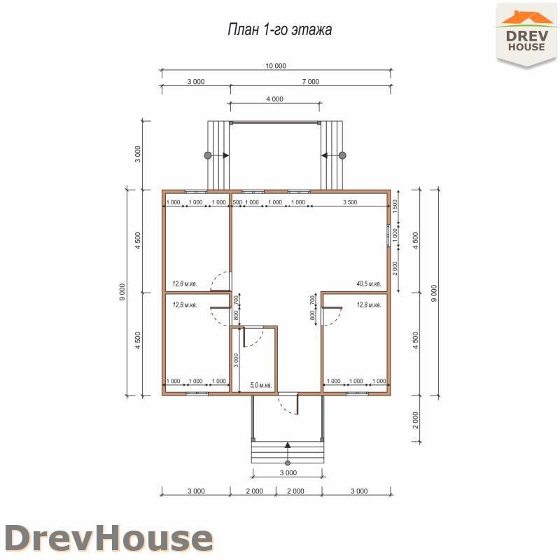 План 1 этажа одноэтажного дома из бруса ДБ-77